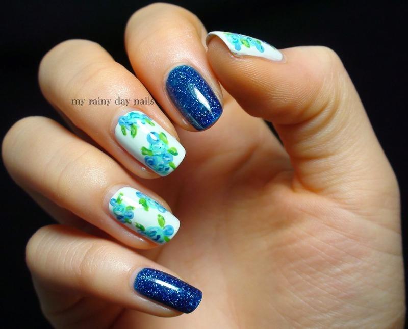 Blue Floral Nail Art nail art by Nova Qi (My Rainy Day Nails)