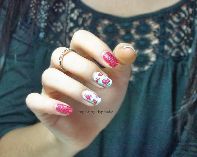 Red Roses Nail Art nail art by Nova Qi (My Rainy Day Nails)
