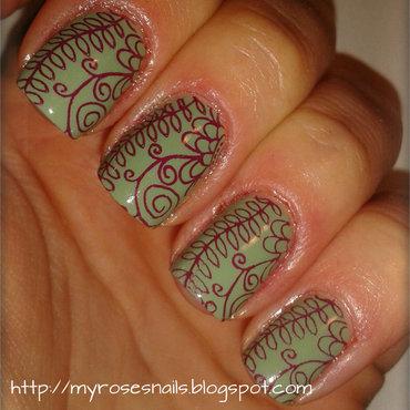Burgundy stamping nail art by Ewa