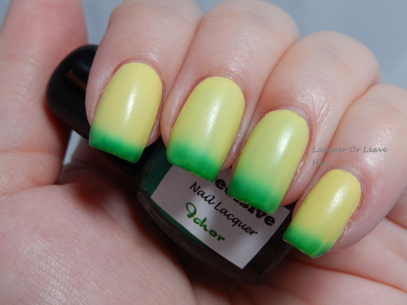 InDecisive Nail Lacquer Green Ichor Swatch by Lacquer or Leave Her! Michelle Chouinard