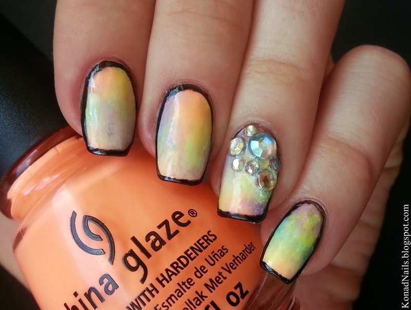 Outlined pastel neons nail art by KonadAddict