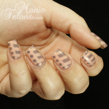 Elegant Stripes and Dots nail art by ManicTalons