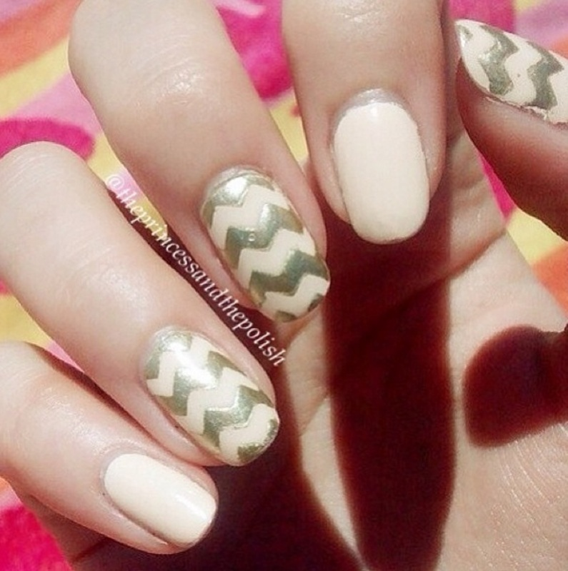 Holiday Chevrons nail art by Alexandra