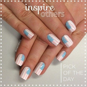 Pastel Stars and Stripes nail art by Ann-Kristin