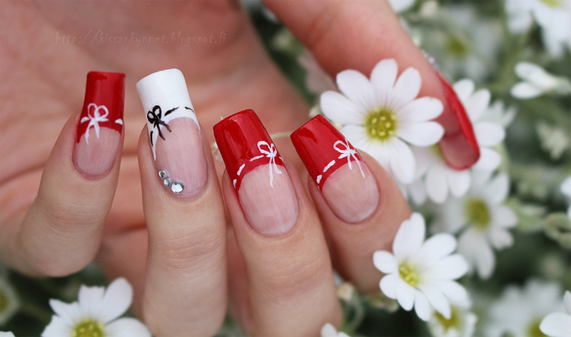 French manicure with ribbons nail art by Yue