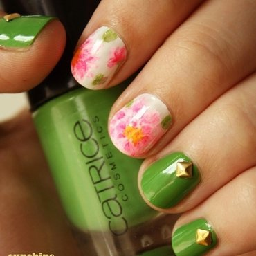 Peonies and Gold Studs nail art by SunshineCitizen