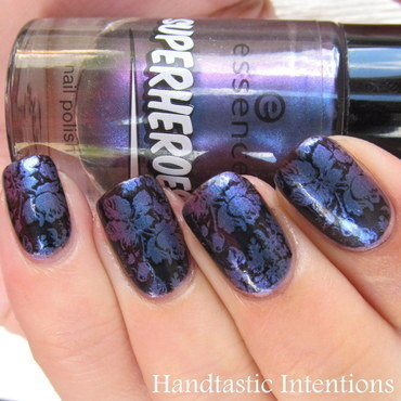 Floral Stamp Over Oil Slick nail art by Andrea