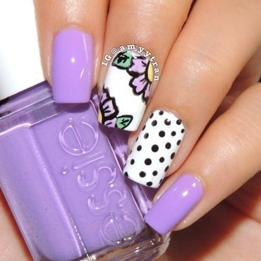 Floral and Polka Dots nail art by Amy