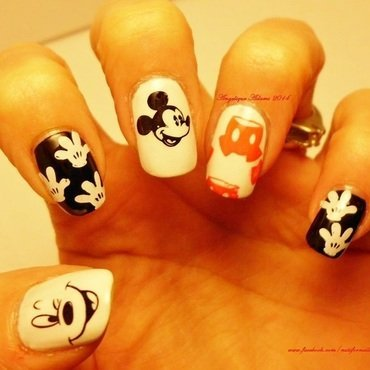 Mickey Mouse nail art by Angelique Adams