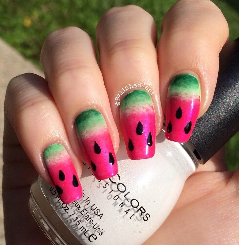 Watermelon Nails nail art by PolishedJess