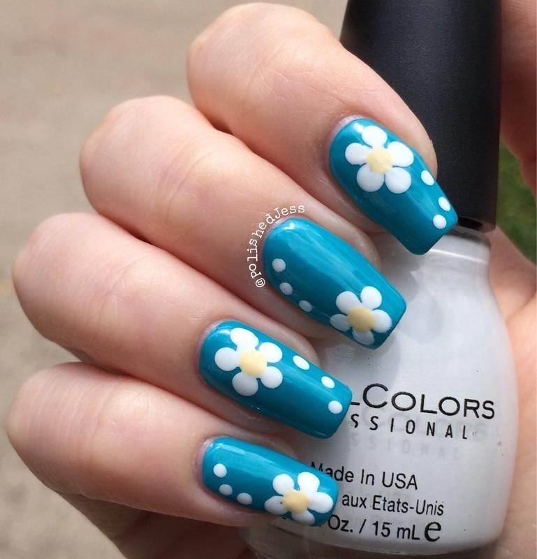 Daisy Nails nail art by PolishedJess