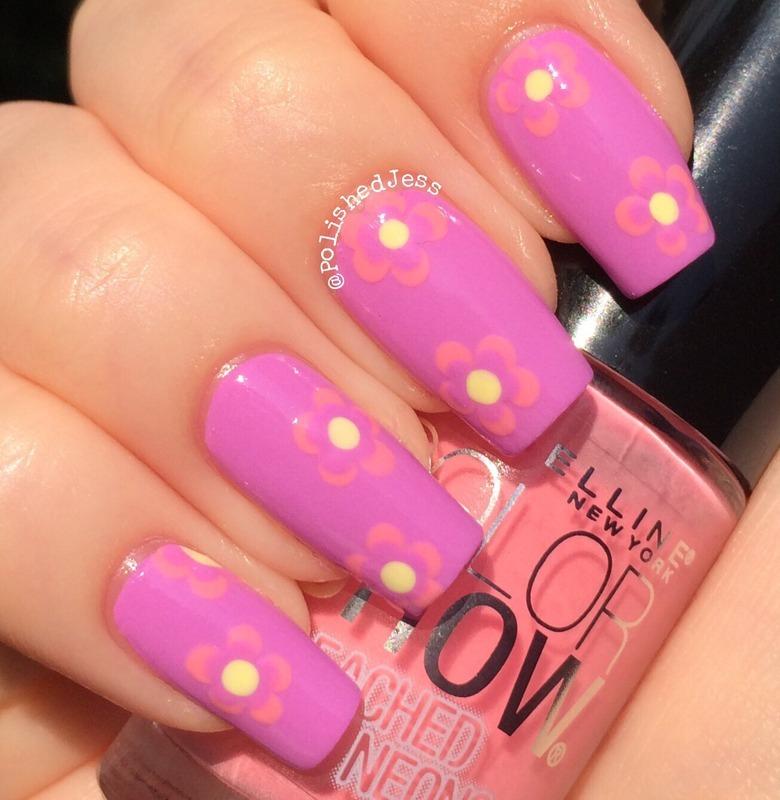 Bleached Neon Flowers nail art by PolishedJess