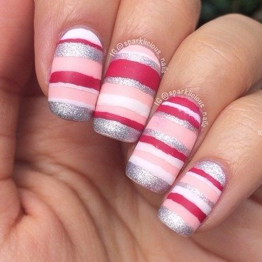 "Matte Girly Stripes nail art by Amanda ""Sparklicious Nails"""