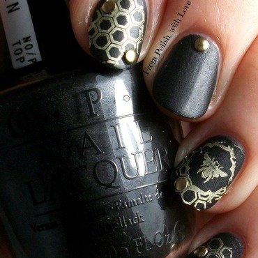 This stamping is the bee's knees! nail art by Dani