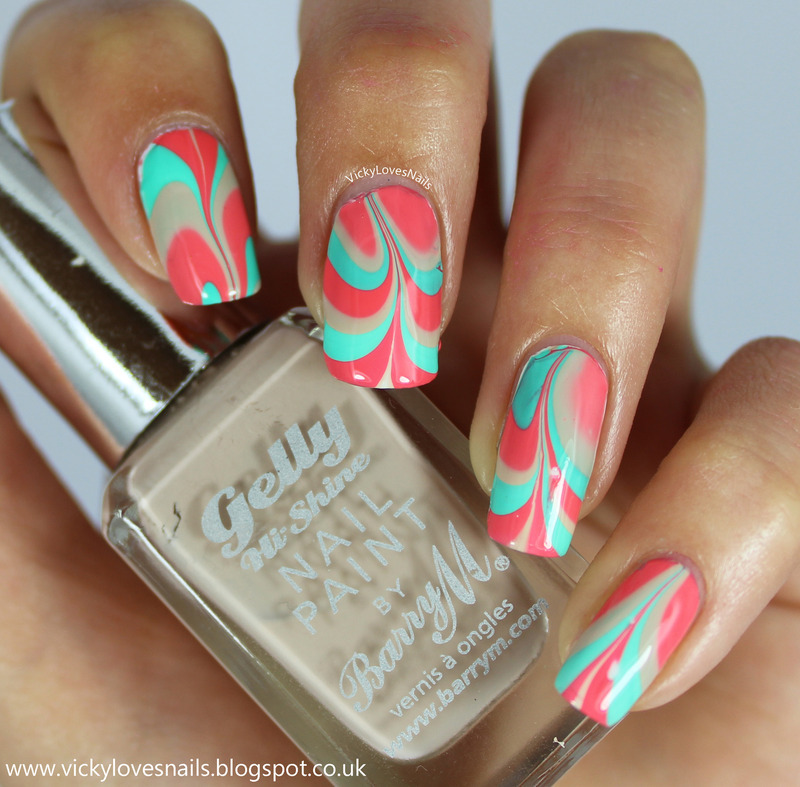 Turquoise, Coral and Nude Watermarble. nail art by Vicky Standage ...