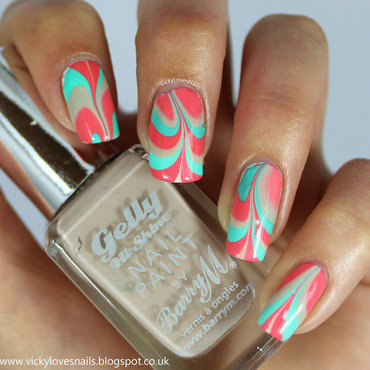 Turquoise, Coral and Nude Watermarble. nail art by Vicky Standage