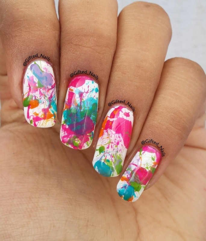 Splatter nails nail art by Gifted_nails