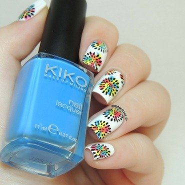 Flower explosion nail art by Marine Loves Polish