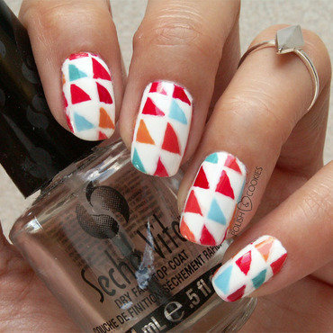 Colorful Triangles nail art by PolishCookie