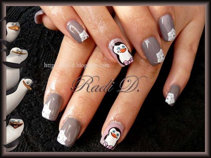 Penguins nail art by Radi Dimitrova