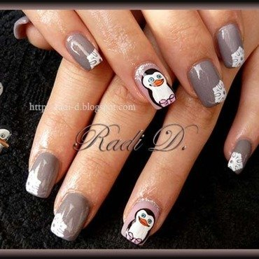 Penguins nail art by Radi Dimitrova