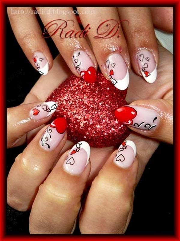 Almond Nails with Hearts nail art by Radi Dimitrova - Nailpolis ...