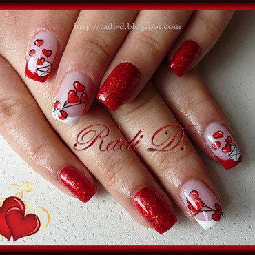 Heart Baloons nail art by Radi Dimitrova