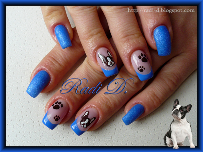 Royal Blue with a Doggie nail art by Radi Dimitrova