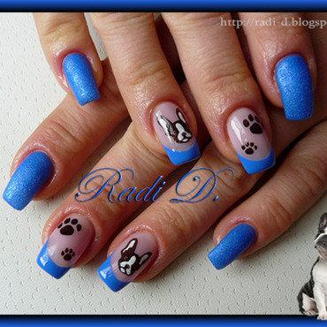 Royal Blue with a Doggie nail art by Radi Dimitrova