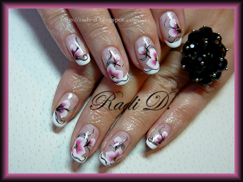 Gel Polish French One Stroke Flowers Nail Art By Radi Dimitrova