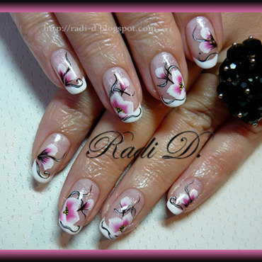 Gel polish french & one stroke flowers nail art by Radi Dimitrova