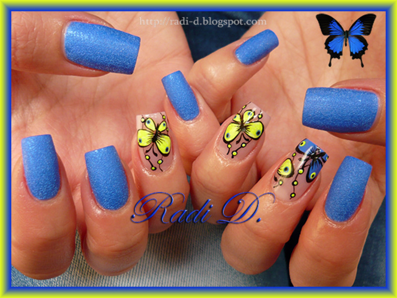 Blue and Yellow neon Butterflies nail art by Radi Dimitrova ...