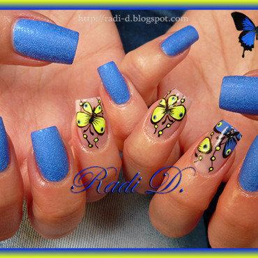 Blue and Yellow neon Butterflies nail art by Radi Dimitrova