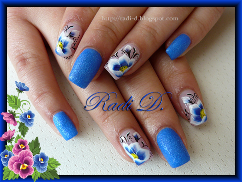 Blue Sand & One Stroke Flowers nail art by Radi Dimitrova - Blue Sand & One Stroke Flowers Nail Art By Radi Dimitrova