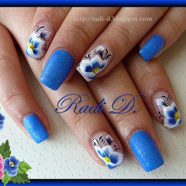 Blue Sand & One Stroke Flowers nail art by Radi Dimitrova
