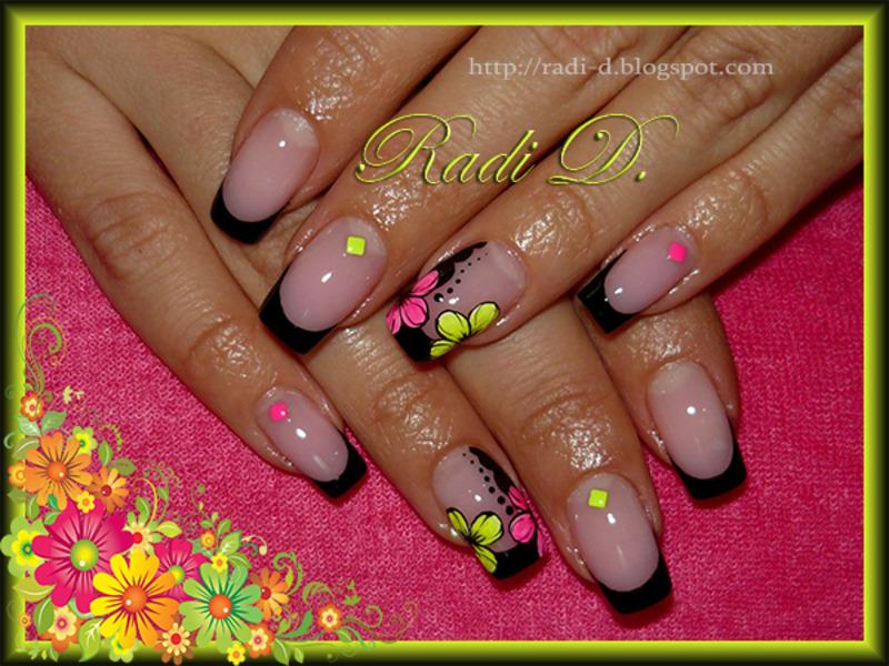 Black French with Neon Flowers & Studs nail art by Radi Dimitrova ...