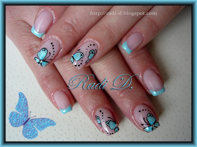 Baby blue french & Butterflies nail art by Radi Dimitrova