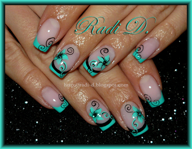 Mint French & Flowers nail art by Radi Dimitrova - Nailpolis: Museum ...