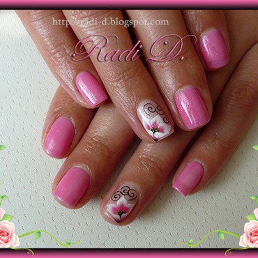 Pink Gel polish nail art by Radi Dimitrova