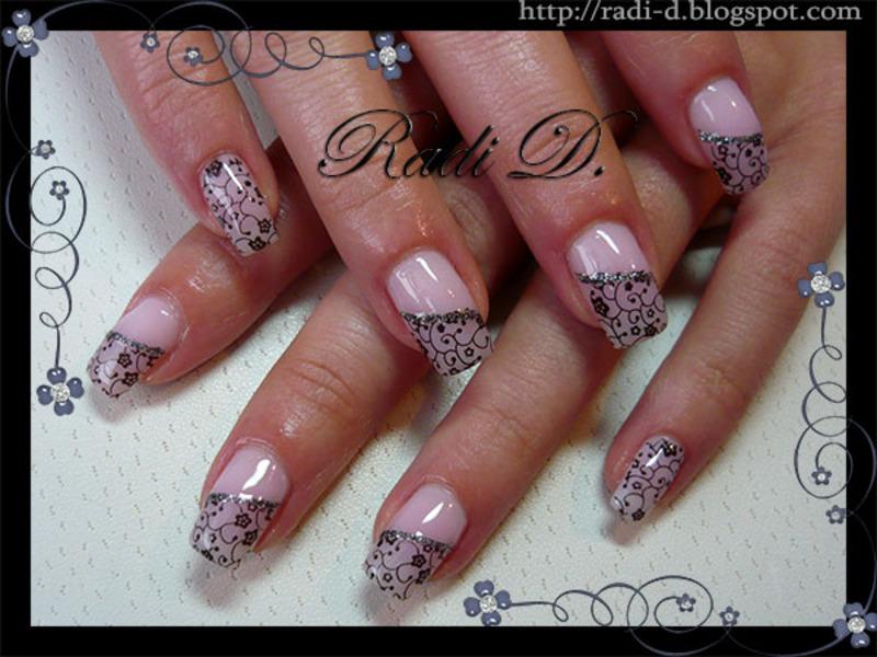 Stamped Flowers- Lace nail art by Radi Dimitrova