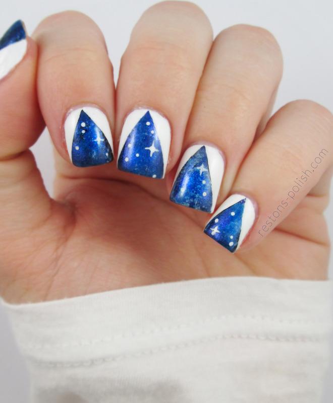 Galaxy nails nail art by Restons polish