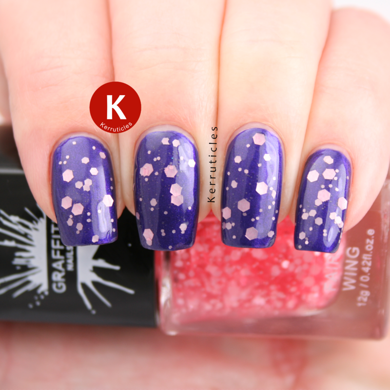 Graffiti Nails Fairy Wing and L'Oréal Divine Indigo Swatch by Claire Kerr