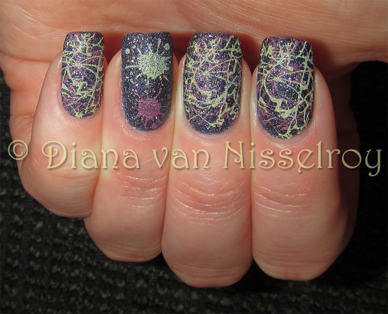Splatter nail art by Diana van Nisselroy