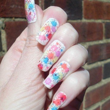 Rainbow Splat Nails nail art by Tracey - Bite no more