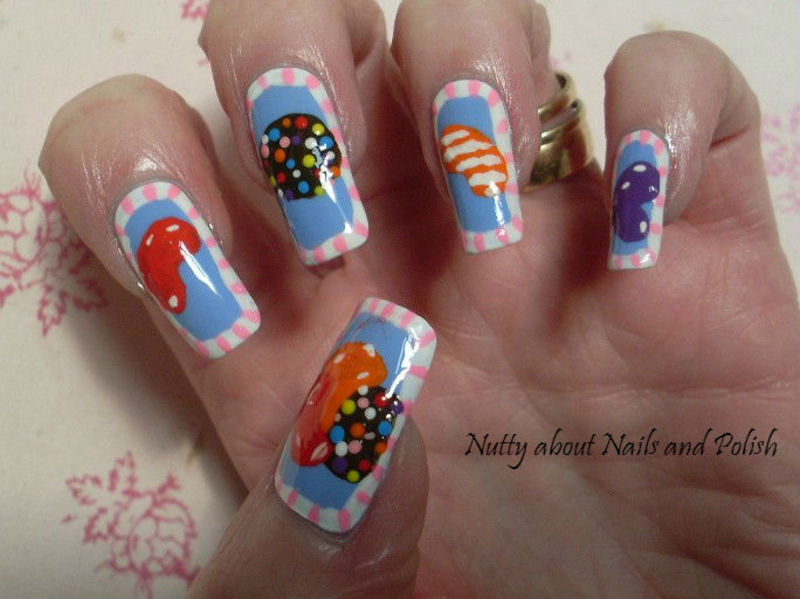 Candy Crush nail art by Tracey - Bite no more