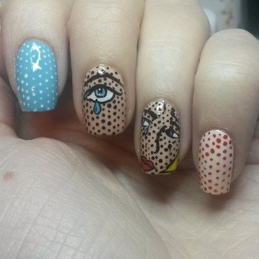 freehand pop art nails nail art by Alanna
