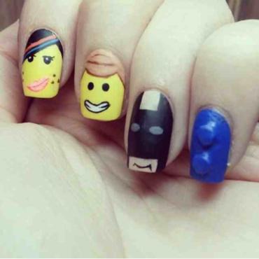 lego movie nail art by Alanna