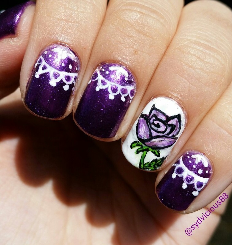 Purple Rose and lace. nail art by SydVicious