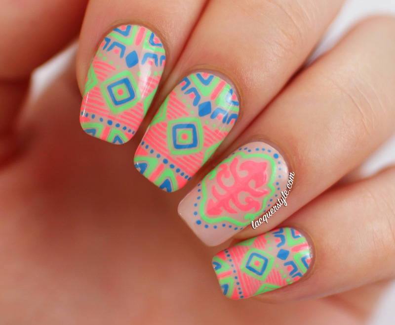 Neon Tribal (Katy Perry Inspired) Nails nail art by Kristin (Lacquerstyle)