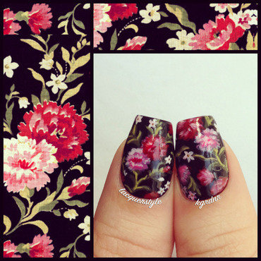 Vampire Weekend Floral Nails nail art by Kristin (Lacquerstyle)